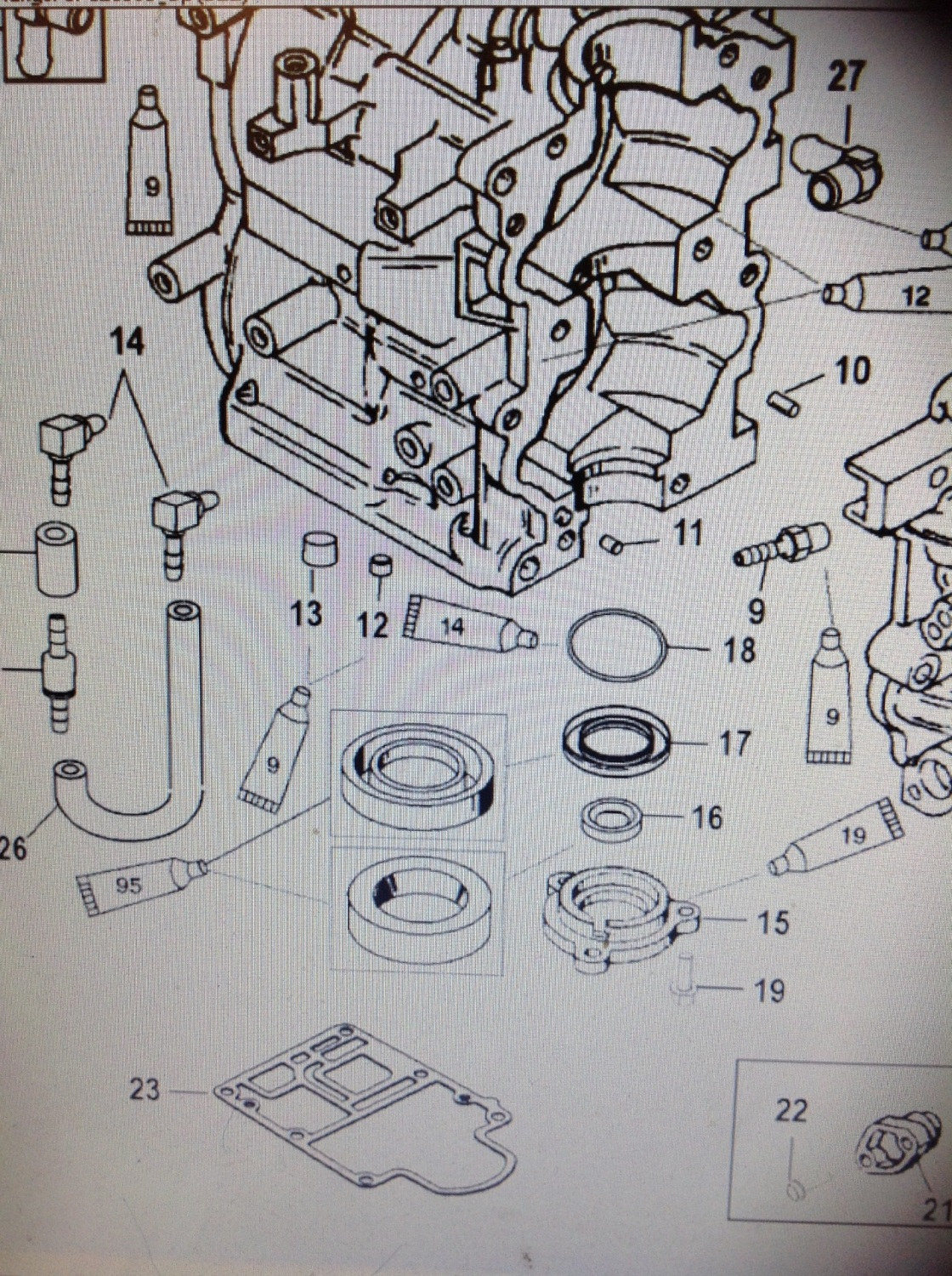 27-8M0000822 / 27-828553 POWERHEAD BASE GASKET ITEM NUMBER  23 IN PICTURE
