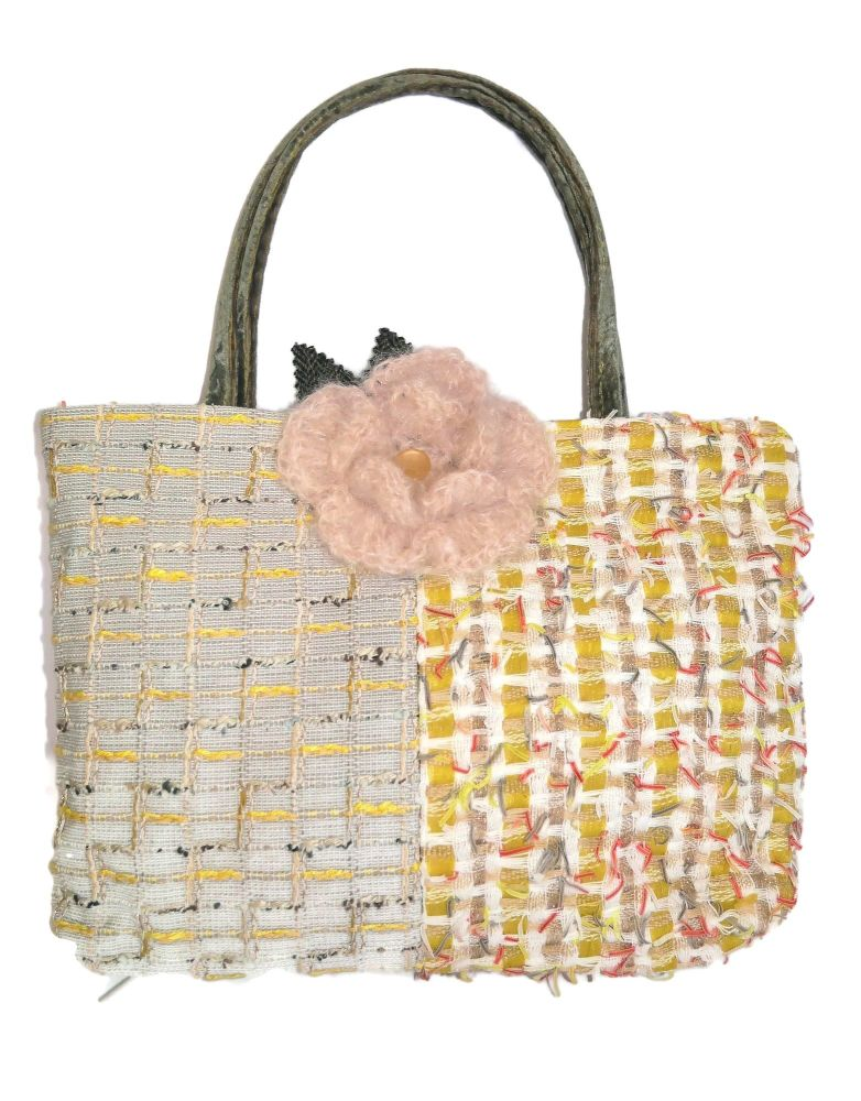 Charmaine: Chanel Tweed Medium/Large Chequerboard Basket Bag and Corsage