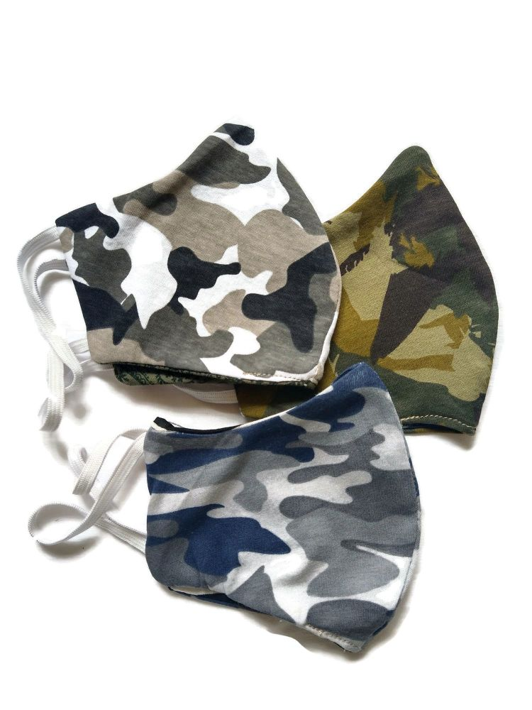 5 Tweed Queen Facemasks -  Camouflage