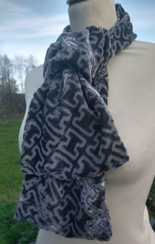 Pewter Silk  Devoree Velvet Scarf