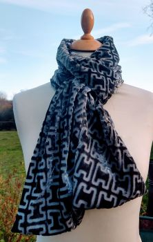 Pewter Silk  Devoree Velvet Scarf Wrap