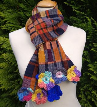 Pumpkin Spice Posy Plaid  - Flower Trimmed Long Scarf