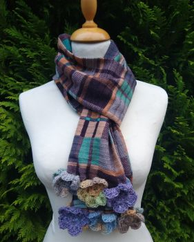 Posy Plaid Sand Bank  - Flower Trimmed Long Scarf