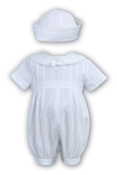 Boys White Linen Sailor Style Christening Romper 235