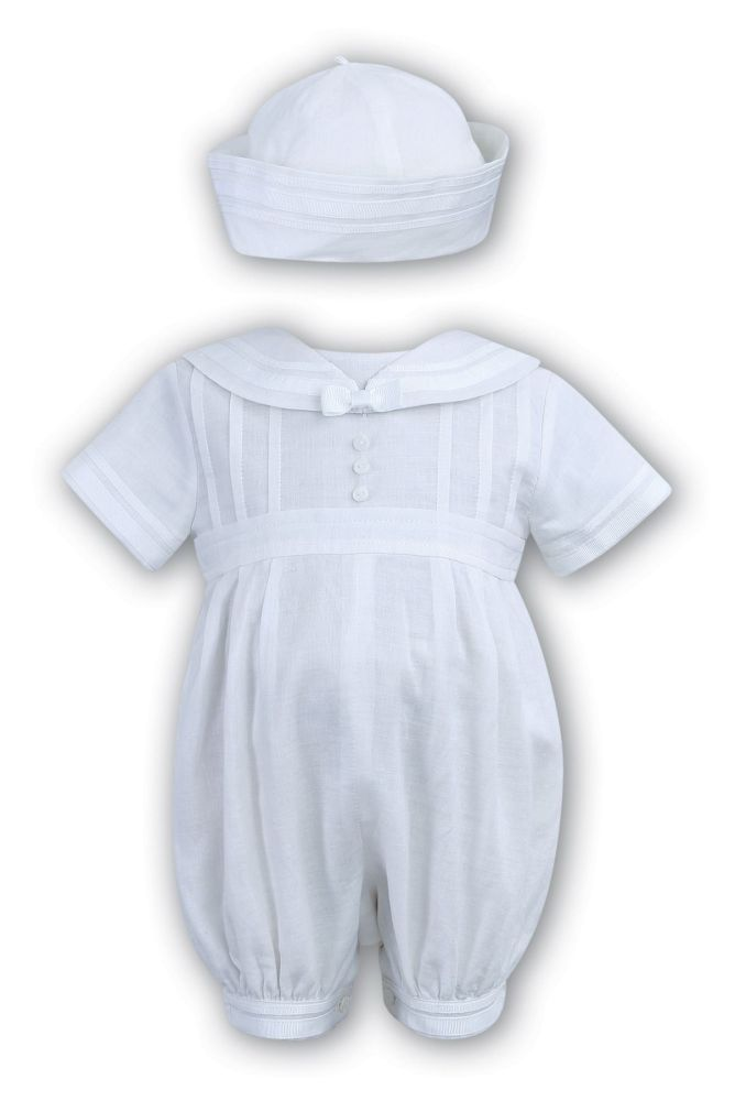 daf3bc049a2 Sarah Louise linen sailor christening romper 235 white