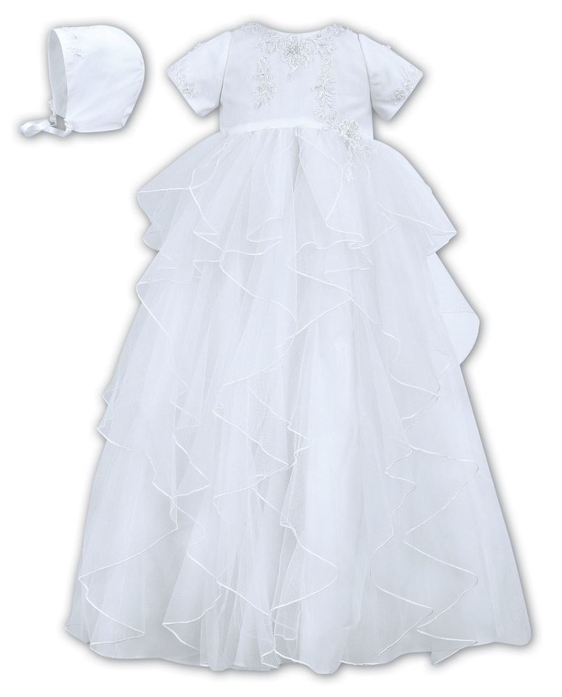 White layered Christening gown & bonnet Sarah Louise 086