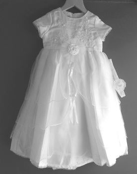 White satin & tulle christening gown 2