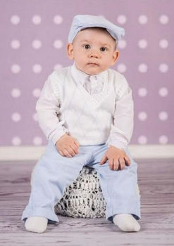 Baby boy's White Argyle Christening Outfit with Blue Corduroy Trousers