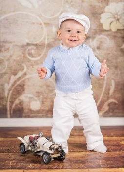 Baby Blue Argyle Christening Outfit with White Trousers