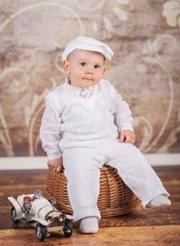 Baby Boy's White Argyle Christening Outfit