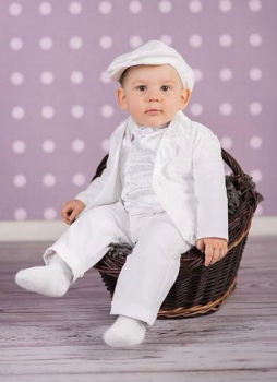 Baby Boy's Six Piece White Christening Suit