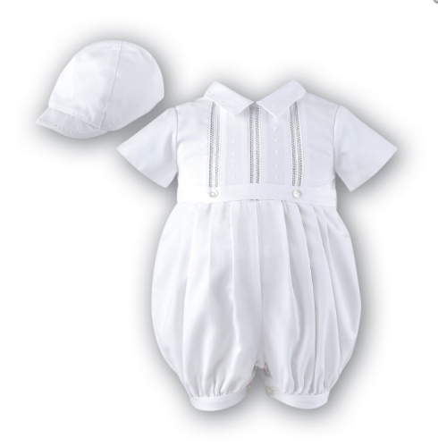 b8e53537e063 Sarah Louise 209 Short Sleeved Baby Boy Christening Romper