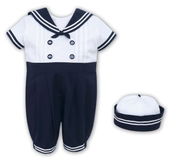 Sailor style romper and hat set Sarah Louise 010410