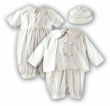 Ivory silk boy's Christening romper, coat & hat by Sarah Louise 2215