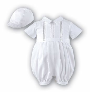 Boys Ivory Christening Romper by Sarah Louise 209 with Cap
