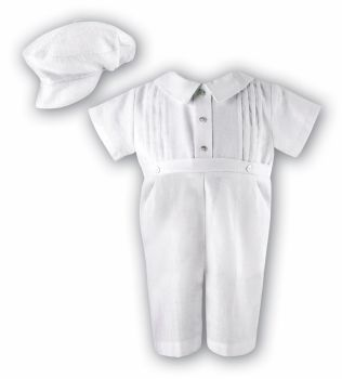 Boys White Linen Christening Romper & hat by Sarah Louise  2243