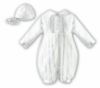 Long sleeved boys satin Christening Romper & hat by Sarah Louise 2232