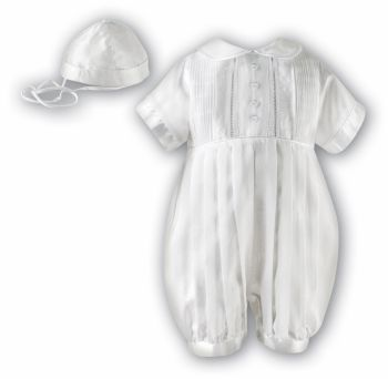 White or Ivory short sleeved boys Christening Romper & hat 2232