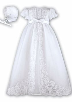 Stunning White Lace Edged Christening Gown by Sarah Louise 1165