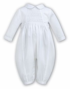 Sarah Louise 2219 smocked white long sleeved Christening romper suit