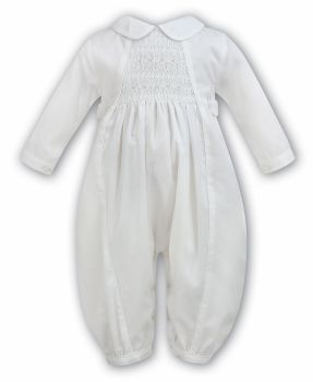Sarah Louise 219 smocked ivory long sleeved Christening romper suit 2219
