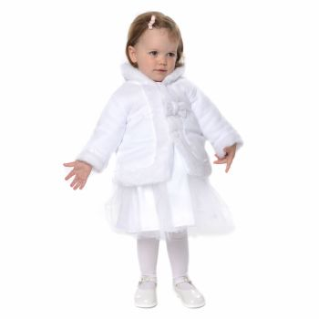 Thick white fleece jacket with faux fur trim