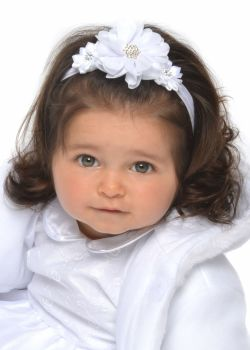 White baby headband with three white flowers with gem centres