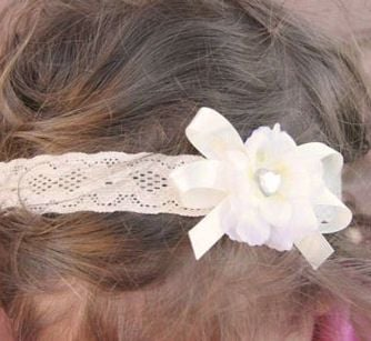 Ivory lace baby headband with flower and bow a9a18af6c13