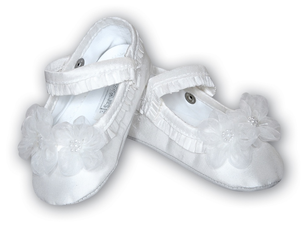 Christening Pram Shoes with Flowers by Sarah Louise - 4401