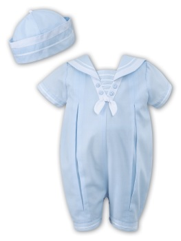 Light Blue Sailor style romper and hat set Sarah Louise 10813