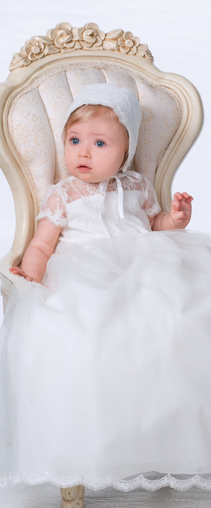 ad421def2b68 White lace heirloom girls christening gown by Sarah Louise 1095