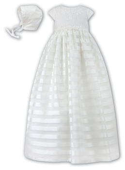 Ivory Satin Stripe Christening Gown & Bonnet by Sarah Louise 1040