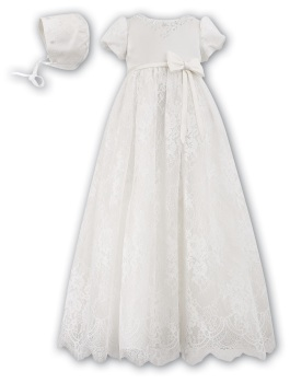 Ivory Lace Christening robe with bonnet 1164