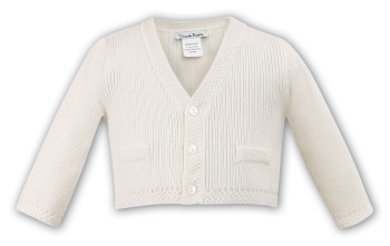 Baby Boys' White Cotton Cardigan 6783