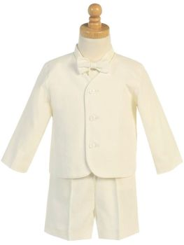 Baby Boys Cream Linen Look Shorts Suit Set