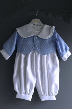 Traditional blue and white romper suit, jacket and hat set 36