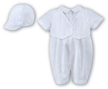 Sarah Louise 2210 White Christening Romper & Cap Set