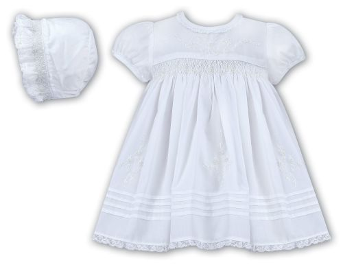 ae17ef280 Sarah Louise 010645 10645 white smocked christening dress and hat set
