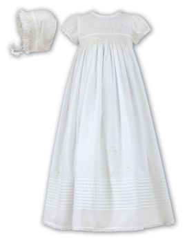 Ivory Smocked Christening Gown & Bonnet by Sarah Louise 1168