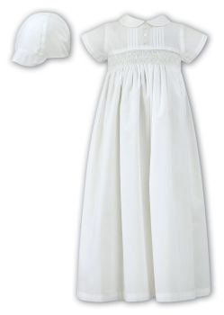 Ivory short sleeved Boys or Unisex Christening Gown and Cap 1178