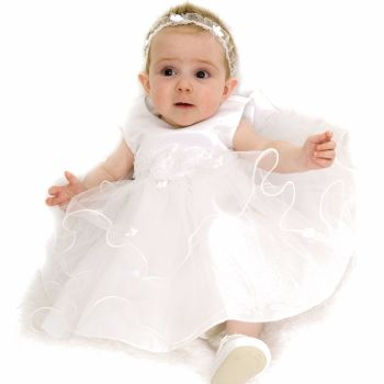 White baby dress with embroidered waist and frilly tulle skirt 210