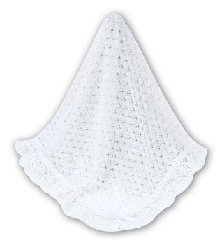 White Christening Shawl with Ribbon by Sarah Louise 31