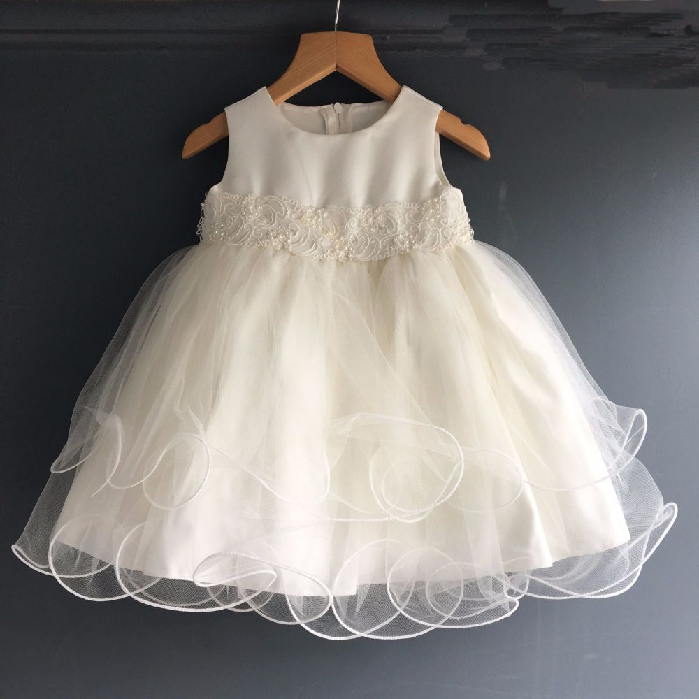 Frilly Ivory Tulle Baby Dress For Christening Or Special