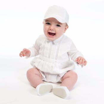 Long sleeved boys Christening Romper & Cap Set by Sarah Louise 2209
