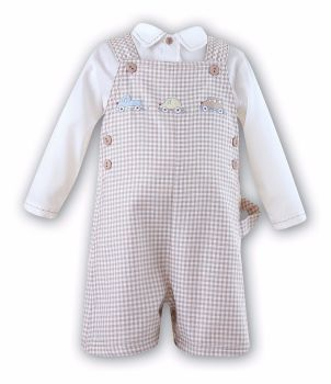 Ivory and brown checked dungarees with car embroidery SL8522