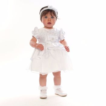 Christening Dress in White Satin with Apron Skirt 806