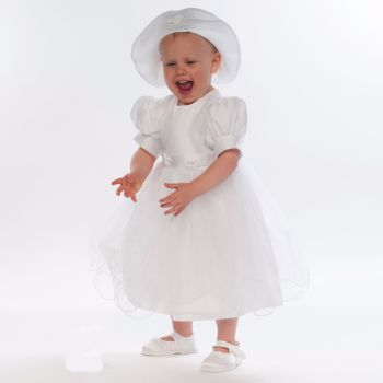 White Christening dress with soft tulle skirt and hat 1014