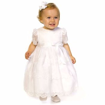 White Organza & Lace Christening Dress by Sarah Louise 70008