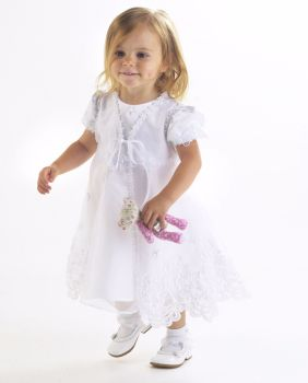 Embroidered organza white Coat and Dress Set 561