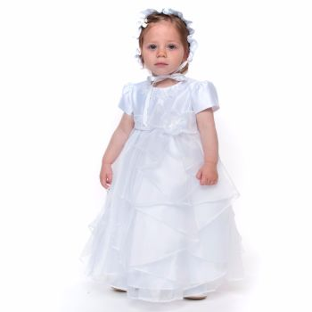 White Satin and Organza Christening Gown & Bonnet 587